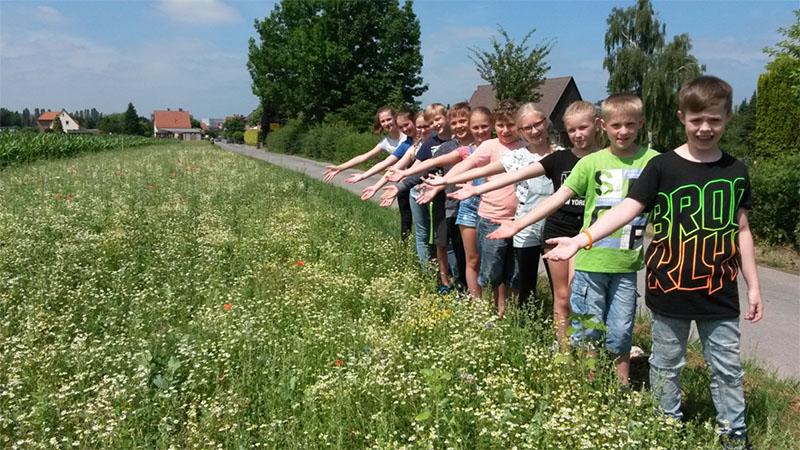 Kinder präsentieren den Blühstreifen in Exten.